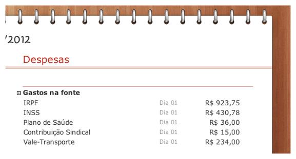 Orçamento destacando gastos na fonte