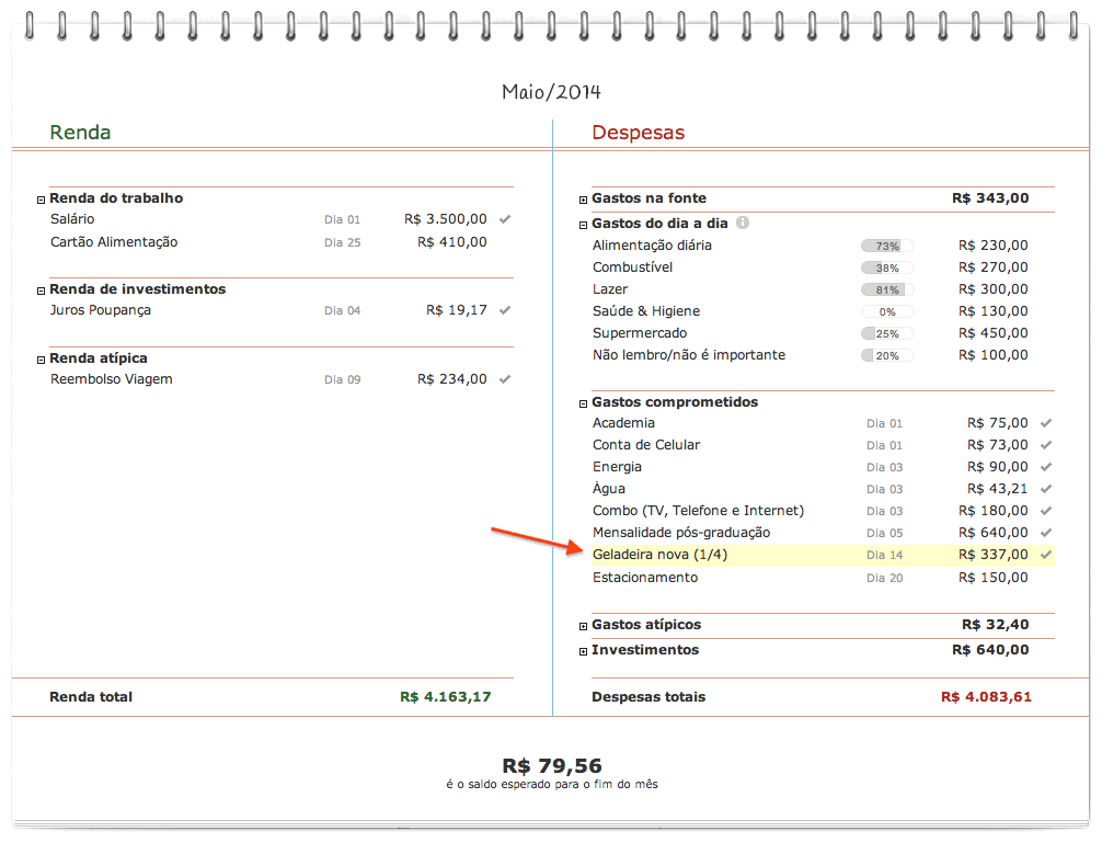 Controle de compras parceladas no orçamento pessoal