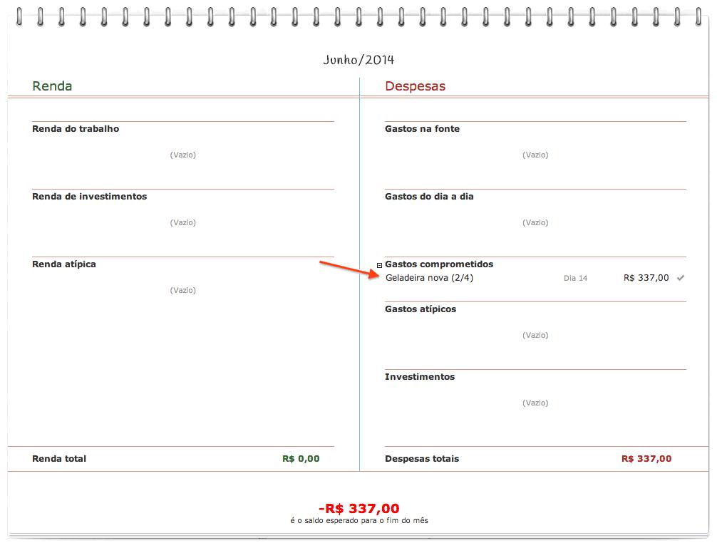 Orçamento mensal do mês seguinte ainda não planejado, apenas com a parcela a vencer lançada.