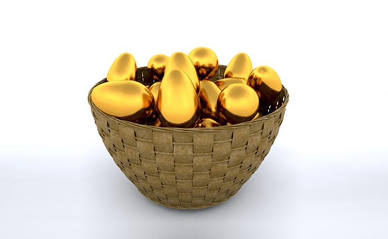 Cesta de ovos de ouro
